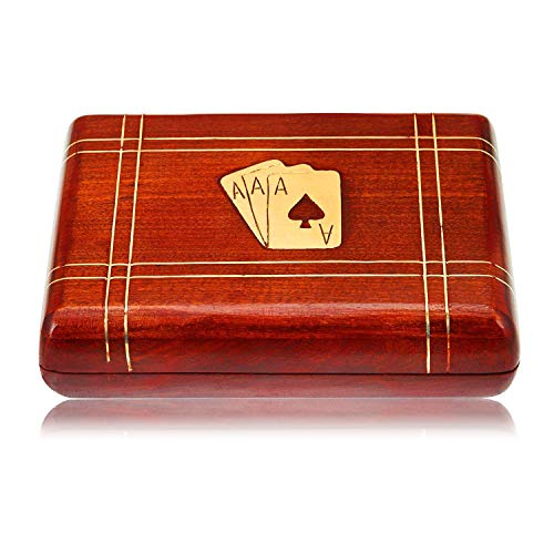 (Great Christmas Gifts Handcrafted Classic Wooden Playing Card Holder Deck Box Storage Case Organizer With 2 Sets of Premium Quality 'Ace' Playing Cards Anniversary Housewarming Gifts For Him Her)