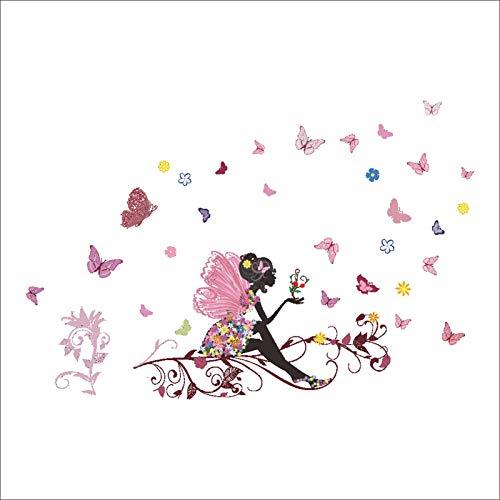 Flor Hda Chica con Mariposa y Flor Tatuajes de Pared para Niñas Dormitorio Romántico Encantador Flores Mariposas Chica…