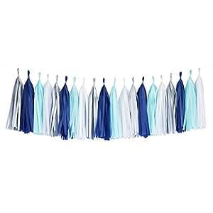 Tissue Paper Tassel DIY Party Garland (20 Tassels Per Package) - 14 Inch Long Tassels (Blue-Navy-White-Silver)