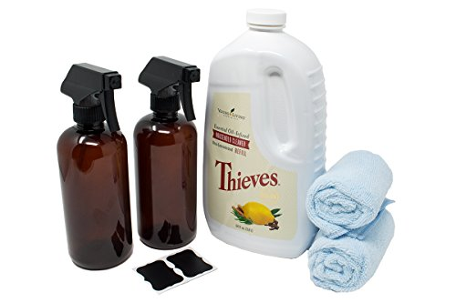 Thieves Cleaner Kit – includes Young Living Thieves Cleaner 64 fl.oz, (2) Plastic Amber Spray Bottles 16oz (PET #1 – BPA Free) w/reusable (2) Chalk Labels, and (2) Microfiber cloths - Thieves Household Cleaner