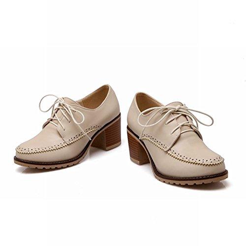 Carol Zapatos Mujeres Lace-up Retro Estilo Británico Neutral Middle Chunky Tacón Oxfords Zapatos Beige