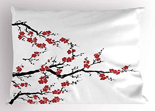 Lunarable Japanese Pillow Sham, Simplistic Cherry Blossom Tree Asian Botanic Themed Pattern Fresh Organic Lines Art, Decorative Standard King Size Printed Pillowcase, 36 X 20 inches, Red Black