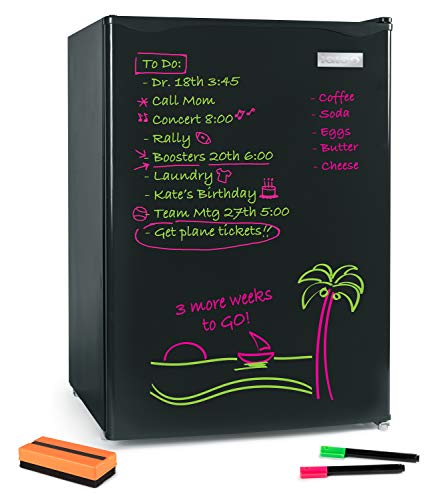 Igloo IRF26EBBK Dry Eraser Board Refrigerator, Freezer, Removable & Adjustable Glass Shelves, Beverage & Food Storage, 2 Pens & Eraser-2.6 cft, Black