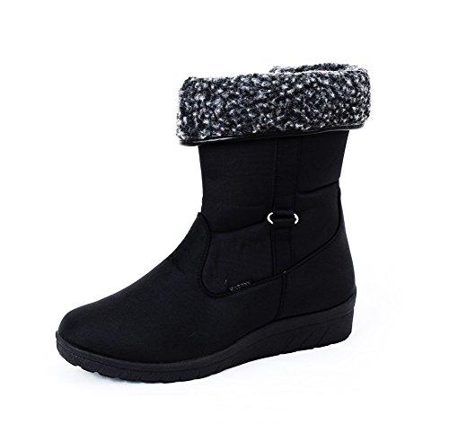 Damen Winter-Stiefeletten Stiefel warm gefüttert,mit Reißverschluss, schwarz Gr. 36-40