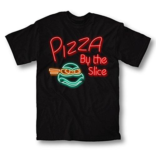 Teenage Mutant Ninja Turtles Pizza Neon Adult Black T-Shirt (Adult Medium)]()