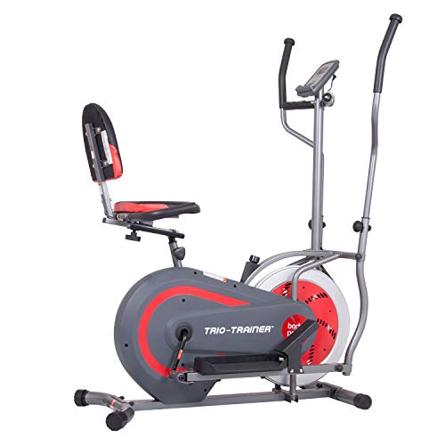 Body Power BRT5088 Trio Trainer Machine 3 in 1 Elliptical Trainer Upright Bike and Recumbent Bike, Encased Flywheel ()