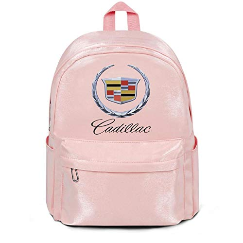 Womens Girl Boys Bag Cadillac-Logo- Classic Nylon Packable 13 Inch Laptop Compartment Backpack Bag Purse Pink
