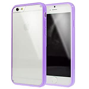 LANSUNS Premium Ultra Thin Slim Clear Hard Back Cover wiht Soft Rubber TPU Frame Bumper Case for iPhone 6 4.7 inch (Purple)