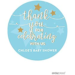 Andaz Press Twinkle Twinkle Little Star Baby Blue Baby Shower Collection, Personalized Round Circle Label Stickers, Thank You for Celebrating With Us, 40-Pack, Madison's Baby Shower Custom Name