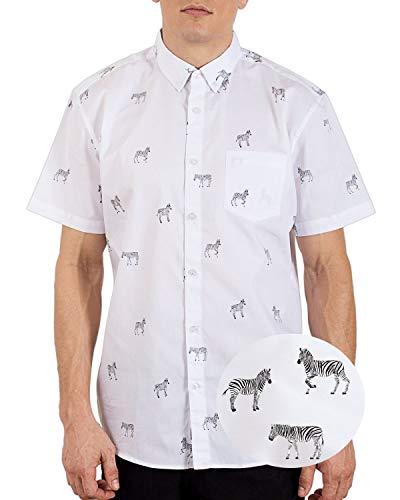 Short Sleeve Zebra - Visive Mens Hawaiian Shirt Short Sleeve Button Down Shirts White Zebra,X-Large