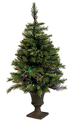 Vickerman Pre-Lit Mixed Cashmere Pine Potted Artificial Christmas Tree with Multicolored LED Lights, (Potted Artificial Christmas Trees)