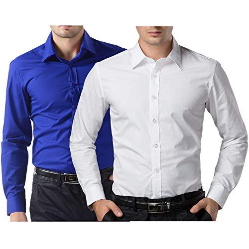 - PJ PAUL JONES Blue and White Dress Shirts for Men Wedding (S,White and Royal Blue)