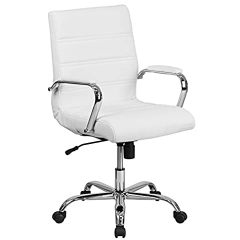 Flash Furniture Mid-Back White Leather Executive Swivel Chair with Chrome Base and Arms - Chair Chrome Base