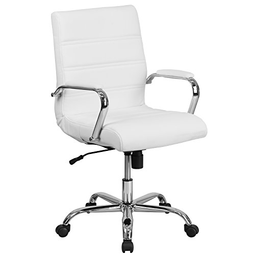 (Flash Furniture Mid-Back White Leather Executive Swivel Chair with Chrome Base and Arms)