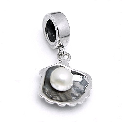 Dreambell .925 Sterling Silver Sea Shell Pendant with Fresh Water Cultured Pearl European Bead (Shell Sterling Silver Slide Pendant)
