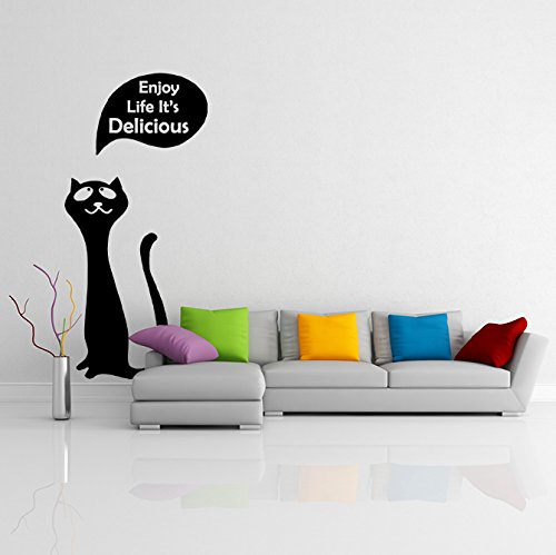 (45'' x 79'') Vinyl Wall Decal Cute Happy Cat / Kitty with Quote Enjoy Your Life It's Delicious Sticker / Fridge Kitten Mural + Free Random Decal Gift!
