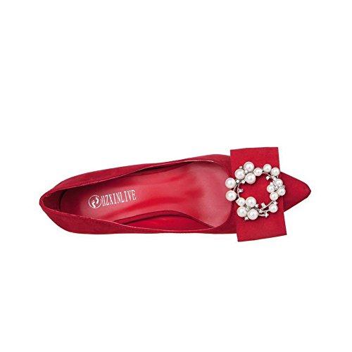 Rojo Diamante aguja Tacón Punta Mujer con Imitación De de Joyas de Esmerilado en AalarDom Puntera salón a6PxnxA
