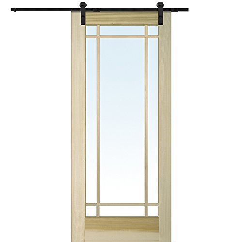 National Door Company Z009574 Unfinished Poplar Wood 9 Lite True Divided  Clear Glass, 32u0027
