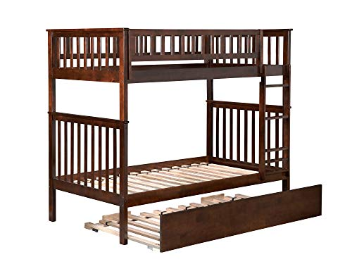 Atlantic Furniture AB56154 Woodland Bunk Bed with Twin Size Urban Trundle, Twin/Twin, Walnut ()