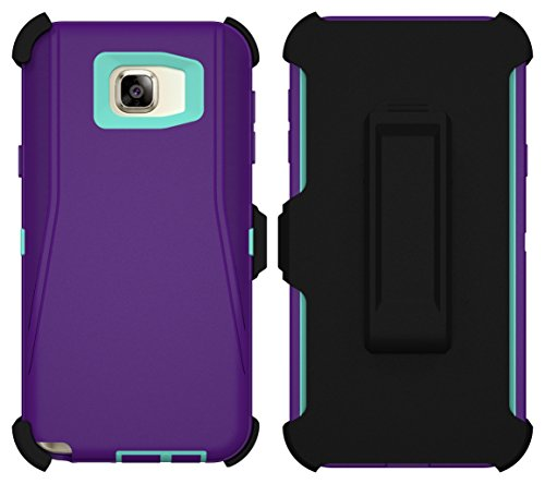 Galaxy Note 5 Case, ToughBox® [Armor Series] [Shock Proof] [Purple | Aqua] for Samsung Galaxy Note 5 Case [Built in Screen Protector] [Holster & Belt Clip] [Fits Otterbox Defender Series Belt Clip]