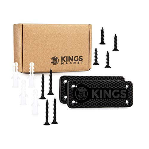 KINGS Magnet Magnetic Gun Mount: 43 lb Rated Gun Magnet Mount - Magnetic Holster for Handgun, Pistol, Rifle, Revolver,  Shotgun - Concealed Gun Holder for Car, Truck, Desk, Wall, Safe, Bedside 2 Pack