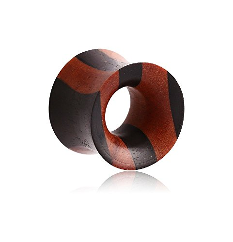 Holy Plug Body Piercing Jewelry Single Iron Wood-Rosewood-Sawo Layered Double Flared Tunnel 000g 0000g 9/16 5/8 11/16 3/4 13/16 7/8 1