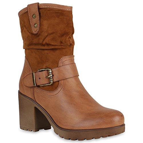 Stiefelparadies Damen Stiefeletten Plateau Boots Lack Schuhe Nieten Blockabsatz Flandell Hellbraun Nieten
