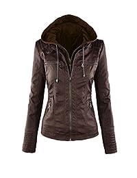 Women Casual Long Sleeve Lapel Fake Two Piece Pu Leather Zipper Hooded Jacket