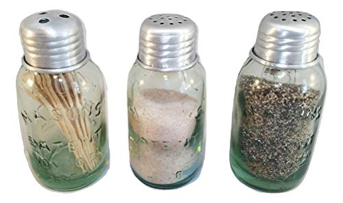 (Mini Mason Jar Salt and Pepper Shakers with Mini Mason Jar Toothpick Dispenser)