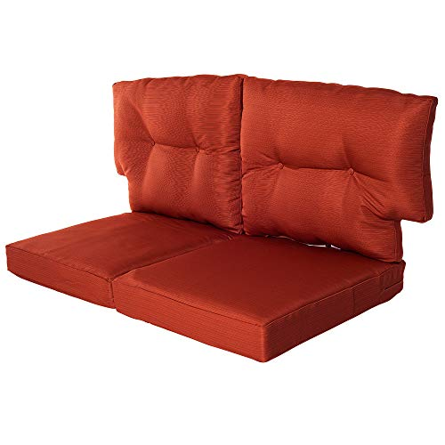 Quality Outdoor Living All Weather Deep Seating Patio Loveseat T-Back Style Seat and Back Cushion Set, 46-Inch by 26-Inch, Rust Orange