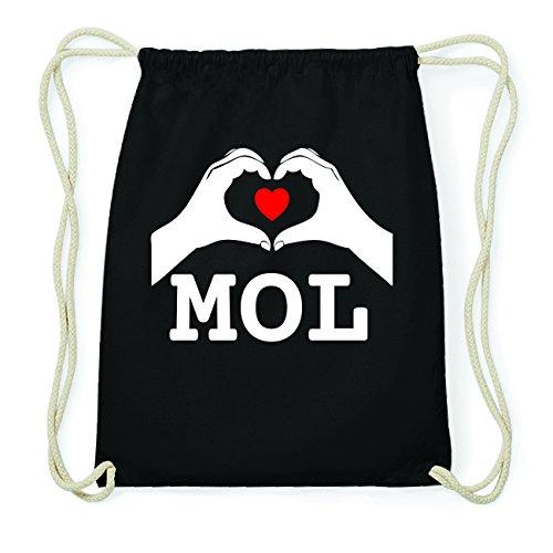 JOllify MOL Hipster Turnbeutel Tasche Rucksack aus Baumwolle - Farbe: schwarz Design: Hände Herz
