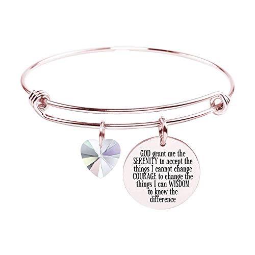 Swarovski Crystal Prayer Box Bracelet - Pink Box Adjustable Bangle with Crystals from Swarovski - Serenity Prayer