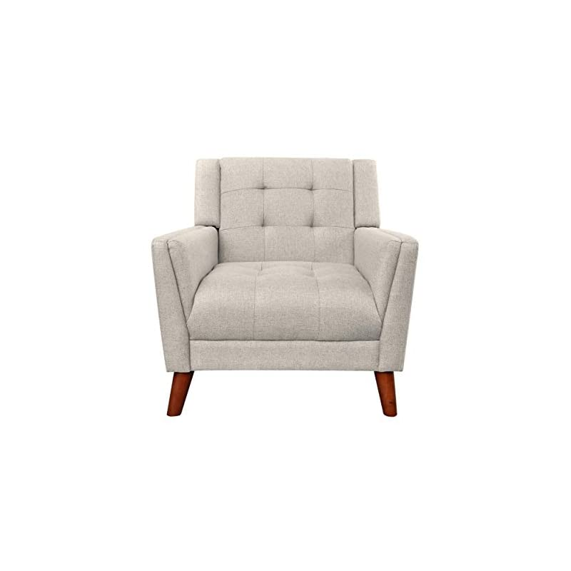 Christopher Knight Home Evelyn Mid Century Modern Fabric Arm Chair, Beige & Walnut (305538)