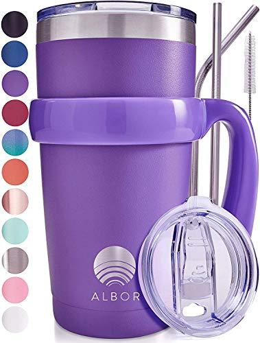 Albor Triple Insulated Stainless Steel Tumbler 20 oz Purple Coffee Travel Mug With Handle