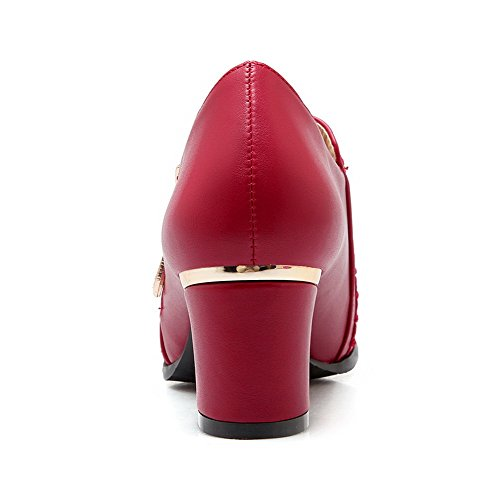 Amoonyfashion Mujeres Zipper Acentuado Cerrado Toe Kitten-heels Pu Solid Pumps-Zapatos Rojo