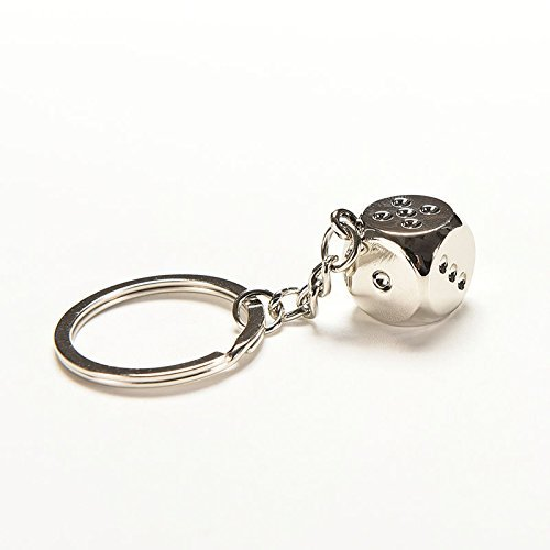 (Creative Home Supplies Lucky Dice Keychain Creative Alloy Dice Polished Chrome Classic Keyring Bag Decoration (Silver) Deserve to Buy)