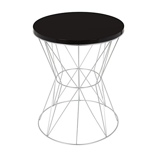 End Cage (Kate and Laurel Mendel Round Accent Table with Cage Metal Frame Base, Black and Silver)