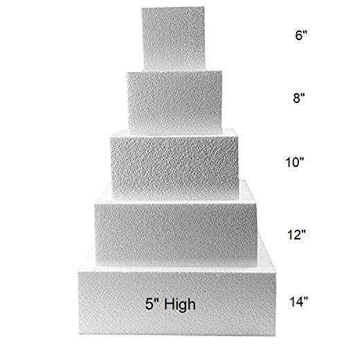 Oasis Supply 4 Piece Square Fake Cake Set / Dummy Cake Set (5'' High by 6'' 8'' 10'' 12'') by Oasis Supply