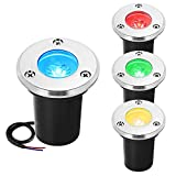 ZUCKEO RGB LED Landscape Lights 3W Color Changing Automatic Flashing Festival Party Stage Outdoor Pathway Decorative Spotlights IP67 Waterproof Low Voltage Lighting-4 Pack (Multi-Colored)