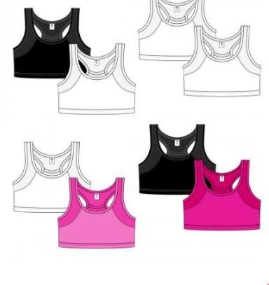 K&A Company Girl's 2-Pack Solid Training Sports Bras - Sizes S-L Case Pack 48 by K&A Company