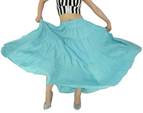 YSJERA Women's Cotton 5 Tiered A Line Pleated Maxi Skirt Long Boho Gypsy Dance Skirts (One Size, A Sky Blue 37.4