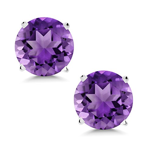 14K White Gold Purple Amethyst Stud Earrings 1.40 Ct Gemstone Birthstone Round ()