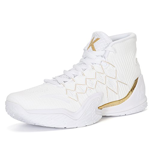 ANTA 2018 KT3 Mens Basketball Shoes (12, White/Gold)