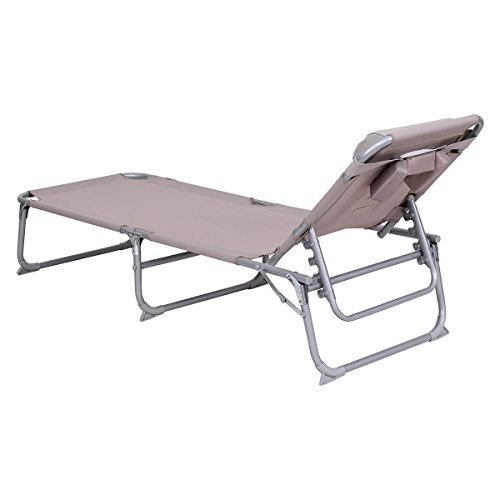Goplus Adjustable Chaise Lounge Chair Recliner W Pillow