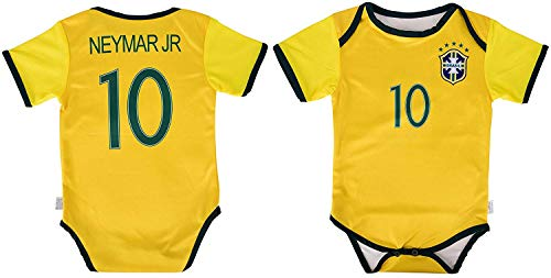 1a949175b2a World Cup Baby Neymar Jr #10 Brazil Soccer Jersey Baby Infant and Toddler  Onesie Romper Premium Quality (6-12, Romper)