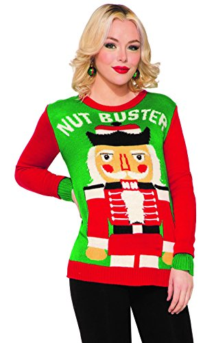 Forum Novelties Men's Ugly Christmas Sweater, Nut Buster, Red/Green, Medium