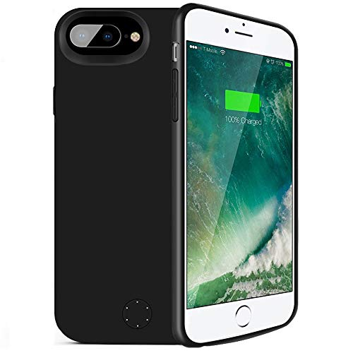 iPhone 6 Plus/6s Plus/7 Plus/8 Plus Battery Case,80sbrothers iPhone 6 Plus 6s Plus 7 Plus 8 Plus Portable Charger,Portable Rechargeable Protective Charging Case,Support Lightning Earphone(Black)