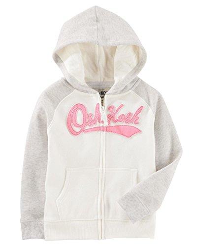 (OshKosh B'Gosh Girls' French Terry Hooded Jacket (18-24 Months, Grey/OshKosh Logo))