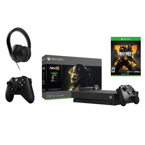 (Xbox One X 1TB Console Fallout 76 Bundle with 2 Wireless Controllers, Also Includes Call of Duty: Black Ops 4 One Stereo Headset)