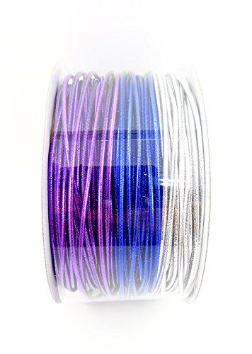 "Jo-ann's Metallic Cord,Elastic,3 Colors on a Spool, 1/16"" x 54 ft. (Blue/Purple/Silver)"